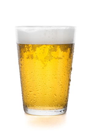 foaming: Glass of beer isolated on white background with clipping path