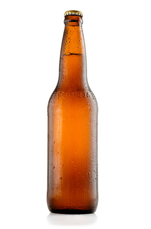 Bottle of beer with drops isolated on white background and with clipping path Stock Photo