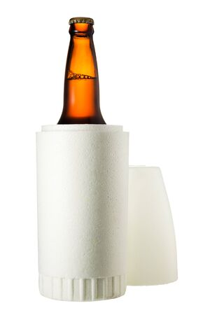Styrofoam beer holder isolated on white background and with clipping path Stock Photo