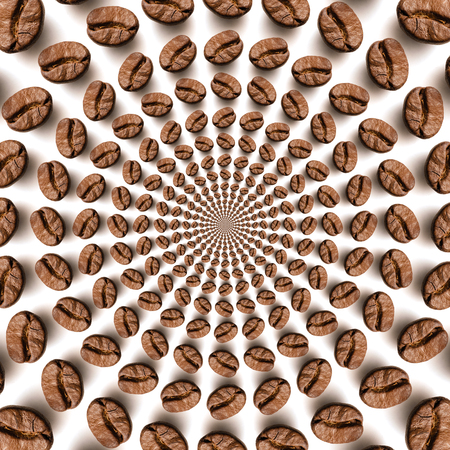 Psychedelic coffee bean optical spin illusion background. Illusion of motion effect image. Stock Photo