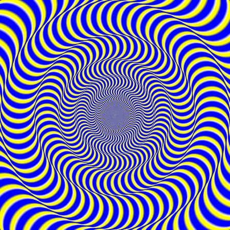 Fondo di illusione ottica di spin psichedelico. Illusione di immagine effetto movimento.