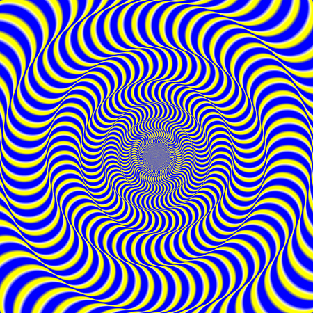 Psychedelic optical spin illusion background. Illusion of motion effect image.