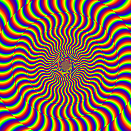 Psychedelic optical spin illusion background. Illusion of motion effect image. Stock Photo - 119551908