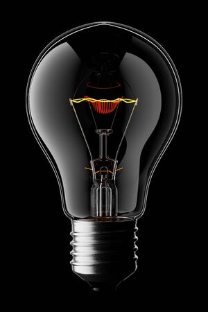 3D Glowing Light Bulb Isolated on Black Background With