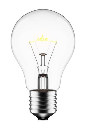 3D Glowing Light Bulb with the Word Idea as Filament, Isolated on White Background With Reklamní fotografie