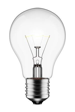 3D Glowing Light Bulb Isolated on White Background With
