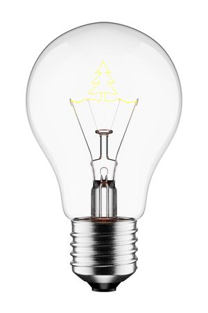 3D Glowing Light Bulb with the Filament Shaped as a Tree, Isolated on White Background With 版權商用圖片