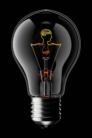3D Glowing Light Bulb with the Filament Shaped as a Head and Brain, Isolated on Black Background With