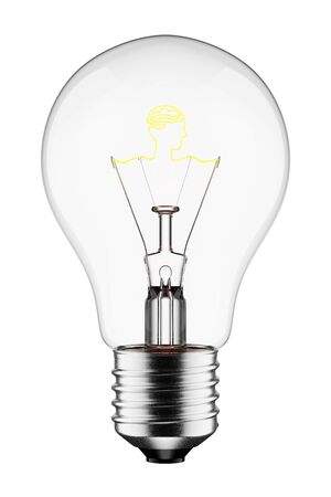 3D Glowing Light Bulb with the Filament Shaped as a Head and Brain, Isolated on White Background With