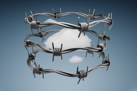3D Rendered Clouds Surrounded With Barbed Wire, Data Protection Concept Isolated on Gradient Blue Background With Clipping Path for the Barbed Wire