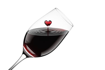 3D Rendered Red Wine in a Glass Isolated on White Background With Clipping Path 版權商用圖片