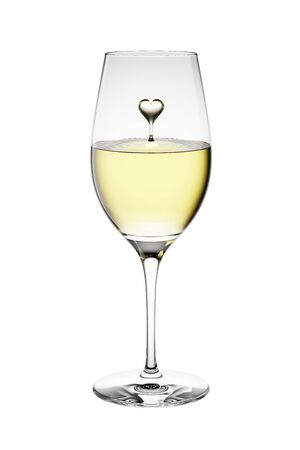 3D Rendered White Wine in a Glass Isolated on White Background With Clipping Path