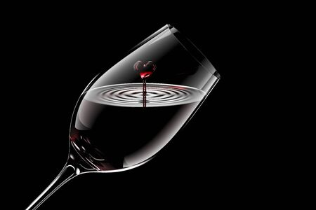 3D Rendered Red Wine in a Glass Isolated on Black Background With Clipping Path