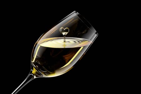 3D Rendered White Wine in a Glass Isolated on Black Background With Clipping Path