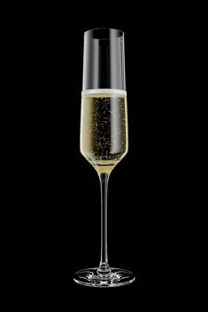 3D Rendered Flute of Champagne Isolated on Black Background With Clipping Path