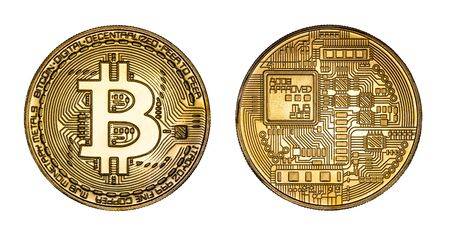 Crypto Currency Golden Bitcoin Isolated on White Background. The Concept of Virtual International Currency and Business on the Internet With Clipping Path 版權商用圖片