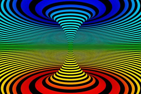 Abstract 3D Rendered Graphic Design. Rainbow Colored Illusion of Torsion Rotation Movement Background.