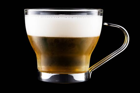 Coffee Cup With Beer Isolated On Black 版權商用圖片