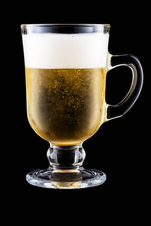 Irish Coffee Cup With Beer Isolated On Black