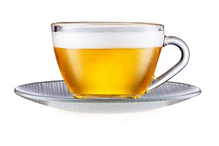 Saucer and Tea Cup With Beer Isolated On White