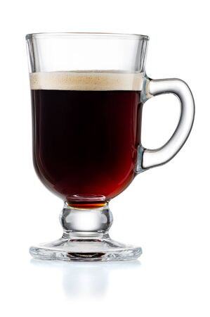 Irish Coffee Cup With Black Coffee Isolated On White Background With Clipping Path 版權商用圖片