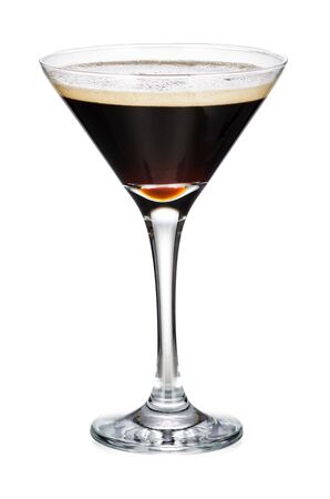 Martini Glass With Black Coffee Isolated On White Background With Clipping Path