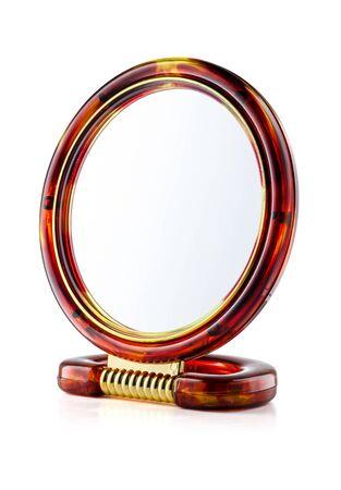 Self-standing Make-Up Mirror Isolated on White 版權商用圖片