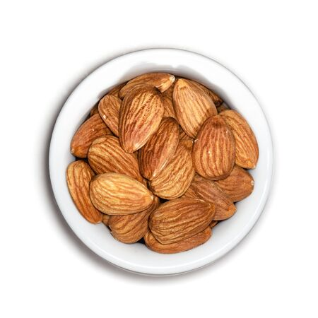 Top View of Almonds On a Porcelain Container Isolated on White Background With Clipping Path