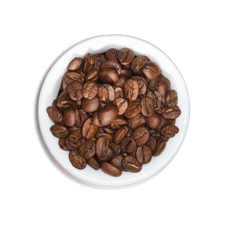 Top View of Roasted Coffee Beans On a Porcelain Container Isolated on White Background With Clipping Path