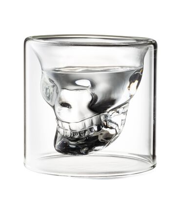Skull Shaped Tequila Glass Shot Isolated on White Background With Clipping Path