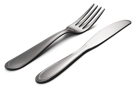 Knife and fork isolated on white background with clipping path Banco de Imagens