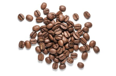 Top View of Roasted Coffee Beans Pile Isolated on White Background 版權商用圖片