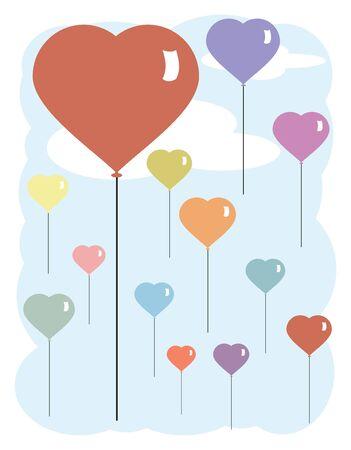 Vector Illustration of Heart Shaped Balloons floating in a blue sky Ilustração