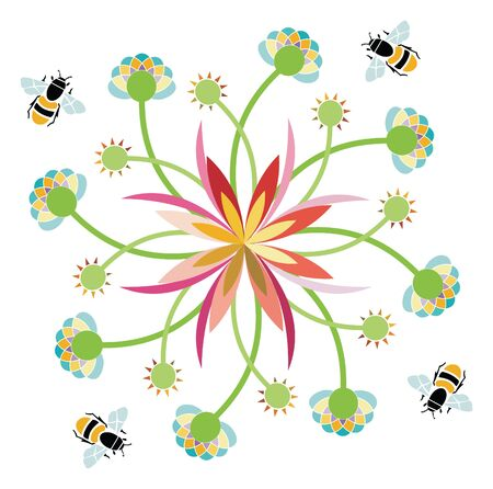 Vector Illustration of a stylized flower and bees Ilustração