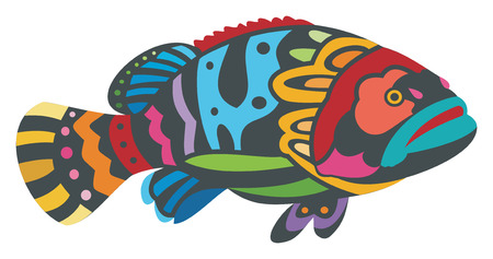Vector Illustration of a Colorful Fish
