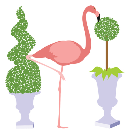Vector Illustration of a Flamingo standing on one foot between two topiary Ilustração