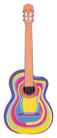 다채로운 기타의 벡터 일러스트 레이션 일러스트
