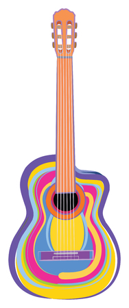 Vector Illustration of a Colorful Guitar