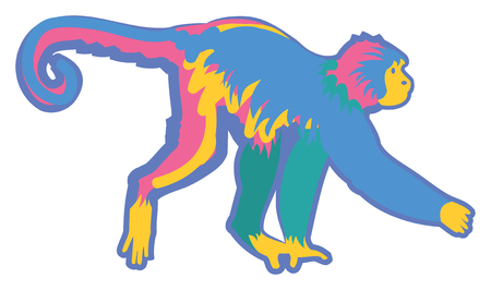 Vector Illustration of a Colorful Monkey Иллюстрация