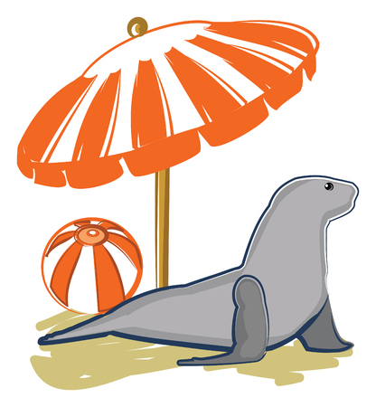 Vector Illustration of a sea lion relaxing on the beach underneath a colorful umbrella next to a beach ball.