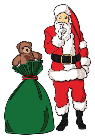 Christmas Santa Claus with a bag of toys. Иллюстрация
