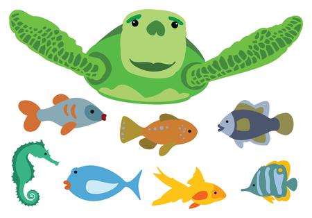 바다 거북이 물고기 학교와 함께 수영. 일러스트