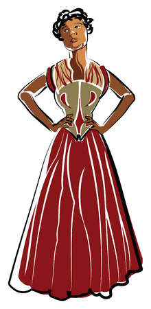 African American woman wearing a long dress on white background, vector illustration. Иллюстрация