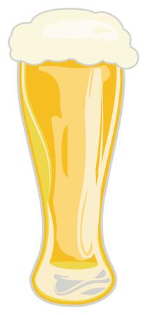 白い背景、ベクター グラフィックの発泡ビールの背の高いグラス。