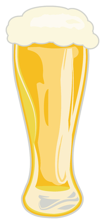 Tall glass of foaming beer on white background, vector illustration.