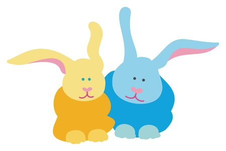 Blue and yellow bunnies on white background, vector illustration. Иллюстрация