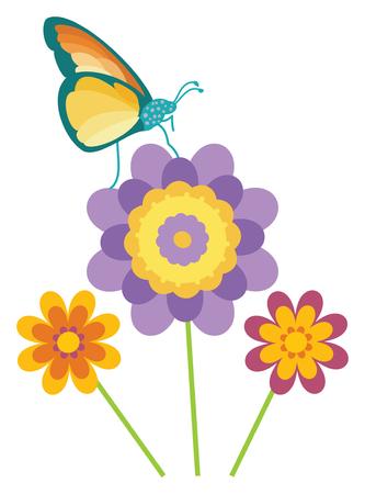 Butterfly in a flower garden on white background, vector illustration. Иллюстрация