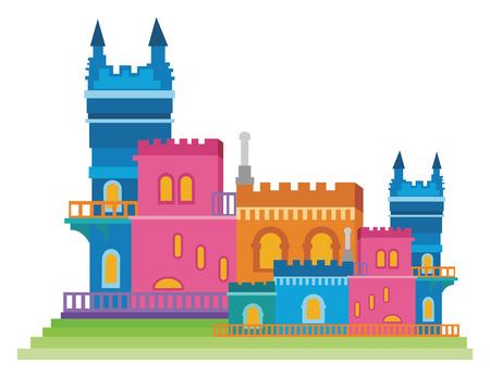 Fantasy castle on white background, vector illustration.