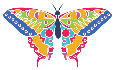 Colorful butterfly on white background, vector illustration.