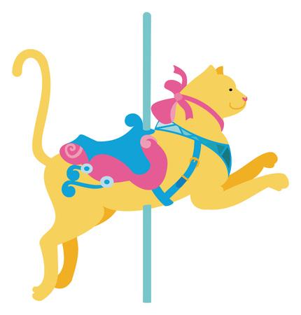 Carousel cat on white background, vector illustration. Illustration